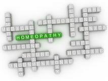 3d homeopatía, muestra natural alternativa de la nube de la palabra de la medicina Foto de archivo