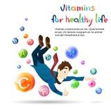 D'homme de vitamines bannière saine de la vie de santé Franco Camion avec l'espace de copie Photos libres de droits