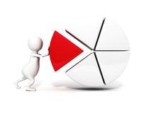 3d homme, personne poussant un morceau d'un graphique circulaire. affaires de succès Photo stock