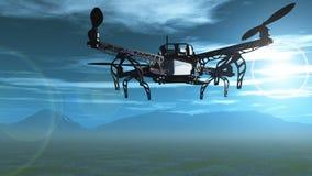 3D hommel die in de hemel vliegen Stock Foto