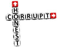 3D Honest Corrupt Crossword Stock Images