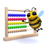 3d Honey bee counts on an abacus Stock Image