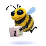 3d Honey bee delivers a box vector illustration