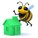 3d Honey bee with a green house. 3d render of a bee flying above a green house Stock Images