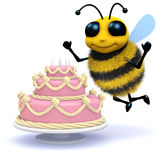 3d Honey bee has a birthday cake. 3d render of a bee with giant pink cake Royalty Free Stock Image