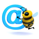 3d Honey bee has an email address symbol. 3d render of a bee next to an email address symbol Royalty Free Stock Images