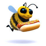 3d Honey bee has a hot dog. 3d render of a bee holding a hot dog Royalty Free Stock Photo