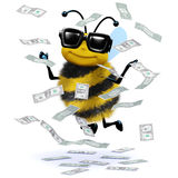 3d Honey bee has a windfall of cash. 3d render of a bee surrounded by falling dollar bills Stock Photos