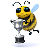 3d Honey bee holding a silver trophy. 3d render of a bee holding a silver trophy Royalty Free Stock Photography