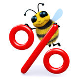 3d Honey bee with interest rate symbol. 3d render of a bee next to an interest rate symbol Stock Image