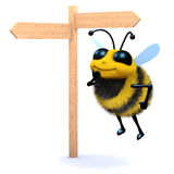 3d Honey bee looks at the roadsign. 3d render of a bee at a road sign Stock Photo