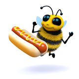 3d Honey bee loves hot dogs. 3d render of a bee next to a giant hot dog Royalty Free Stock Images