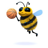 3d Honey bee playing basketball Royalty Free Stock Photo