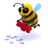 3d Honey Bee puzzle solver. 3d render of a honey bee solving a jigsaw puzzle Stock Image