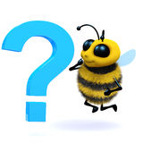 3d Honey bee question mark Royalty Free Stock Photography