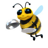 3d Honey bee silver service Stock Images