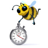 3d Honey bee with a stopwatch. 3d render of a bee with a stopwatch Stock Photography