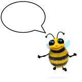 3d Honey bee talks. 3d render of a honey bee with a speech bubble Stock Photography