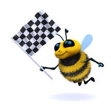 3d Honey bee waves the checkered flag. 3d render of a bee waving a checkered flag Royalty Free Stock Photo