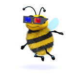 3d Honey bee wearing 3d glasses. 3d render of a bee wearing 3d glasses Stock Image