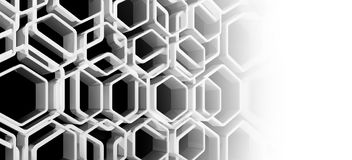 3d honeycomb background with copy space. Abstract honeycomb background with copy space area, 3d render illustration Royalty Free Stock Photos