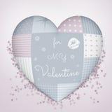 3D hoofdkussen in vorm van een hart met lapwerk Het sensuele blauw en nam schaduwen toe De dag van de valentijnskaart Stock Afbeelding