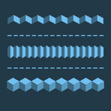 3-D Horizontal Linear Dividers, Borders. Geometric Flat Design E Royalty Free Stock Photos