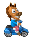 3D Horse character the Blue motorbike driving. 3D Animal Charact Stock Photos