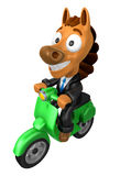 3D Horse character the Green motorbike driving. 3D Animal Charac Royalty Free Stock Image