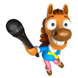 3D Horse character point a microphone. 3D Animal Character Desig Royalty Free Stock Image