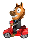3D Horse character the Red motorbike driving. 3D Animal Characte Stock Image