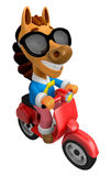 3D Horse character the Red motorbike driving. 3D Animal Characte Royalty Free Stock Images