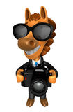 3D Horse character to shoot the Big Camera toward the Front. 3D Royalty Free Stock Photography