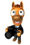 3D Horse character to shoot the Big Camera toward the Left. 3D A Royalty Free Stock Photo