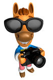 3D Horse character to shoot the Big Camera toward the Right. 3D Royalty Free Stock Images