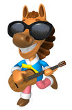 3D Horse has to be playing the guitar. 3D Animal Character Desig Royalty Free Stock Photo