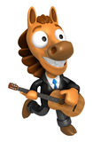 3D Horse has to be playing the guitar. 3D Animal Character Desig Royalty Free Stock Image