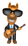 3D Horse has to be playing the guitar. 3D Animal Character Desig Stock Photos