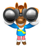 3D Horse mascot in binoculars watching. 3D Animal Character Desi Royalty Free Stock Photos