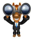 3D Horse mascot in binoculars watching. 3D Animal Character Desi Stock Photography