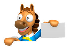3D Horse Mascot hand is holding a board and business cards. 3D A Stock Images
