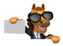 3D Horse Mascot hand is holding a board and business cards. 3D A Royalty Free Stock Photography