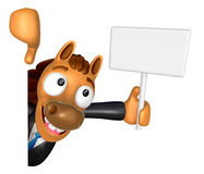 3D Horse mascot hand is holding a picket and board. 3D Animal Ch Stock Photos