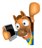 3D Horse Mascot hand is holding a Smart Phone and Big advert boa Stock Image