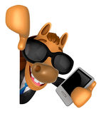 3D Horse Mascot hand is holding a Smart Phone and Big advert boa Royalty Free Stock Photo