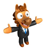 3D Horse mascot has been welcomed with both hands. 3D Animal Cha Stock Images
