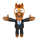 3D Horse mascot has been welcomed with both hands. 3D Animal Cha Stock Photo
