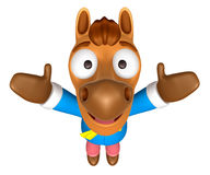3D Horse mascot has been welcomed with both hands. 3D Animal Cha Stock Photos
