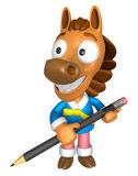 3D Horse Mascot holding a big board with both Pencil. 3D Animal Stock Images