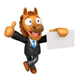3D Horse Mascot the left hand best gesture and right hand is hol Royalty Free Stock Photography